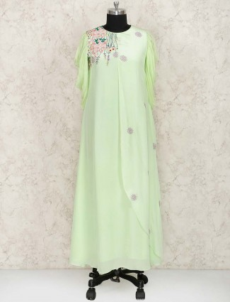 Light green hue georgette hue kurti