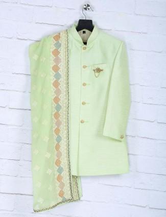LIght green hued party wear boys indo western