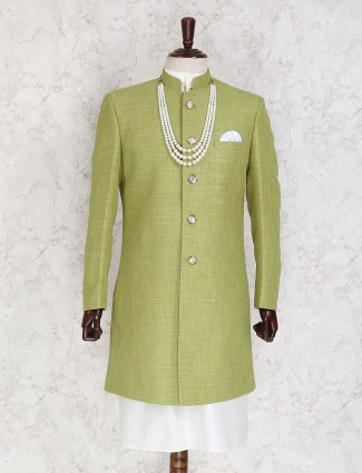 Light green jute party indo western