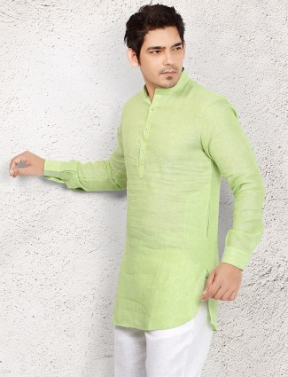Light green linen short pathani
