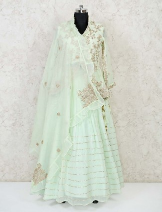 Light green ljacket style ehenga choli for wedding reception