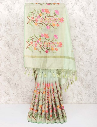 Light green lovely saree in cotton