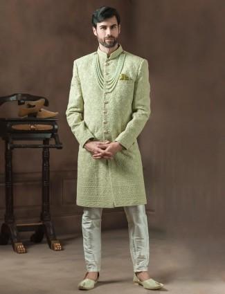 Light green lucknowi sherwani for wedding