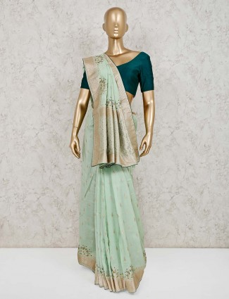 Light green muga silk beautiful saree