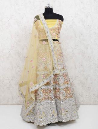 Light green net bridal wear semi stitched lehenga choli