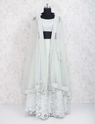 Light green net fabric lehenga choli