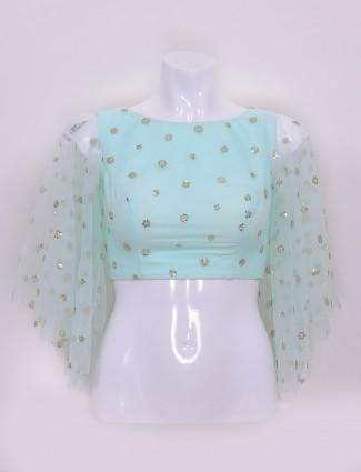 Light green net fabric ready made blouse