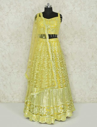 Light green net wedding lehenga choli