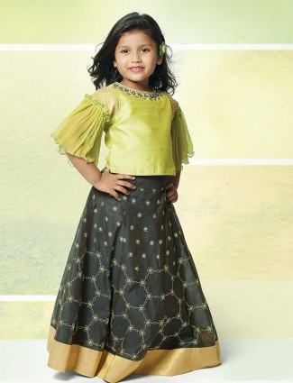 Light green party wear lehenga choli for cute girls