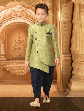 Light green party wear textured pattern indo western