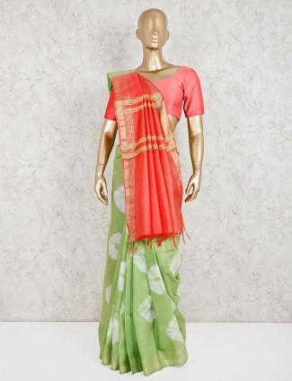Light green printed cotton silk saree