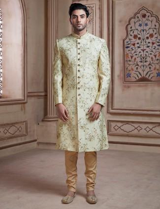 Light green printed raw silk wedding wear sherwani