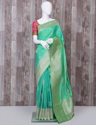 Light green pure banarasi silk saree for party function