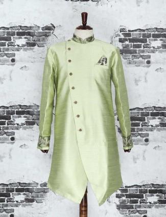 Light green raw silk indo western