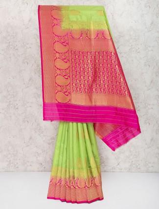 Light green sari in semi silk