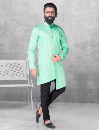 Light green silk kurta suit