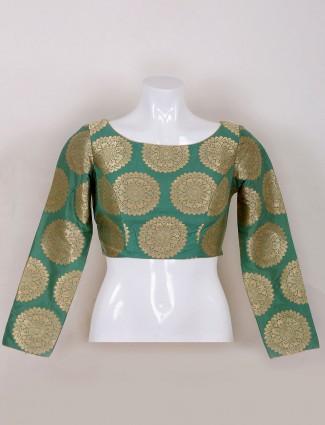 Light green silk ready made blouse