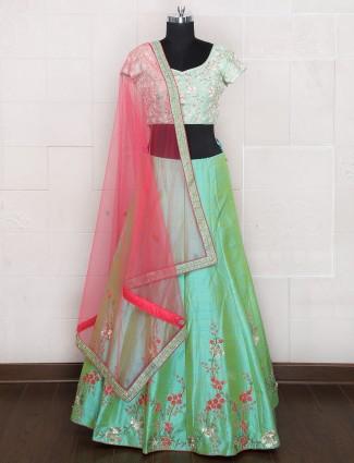 Light green silk unstitched lehenga choli