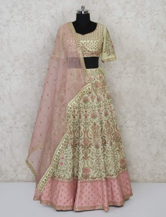 Light green sweetheart neck georgette lehenga choli