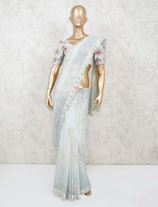 Light grey chiffon lovely saree