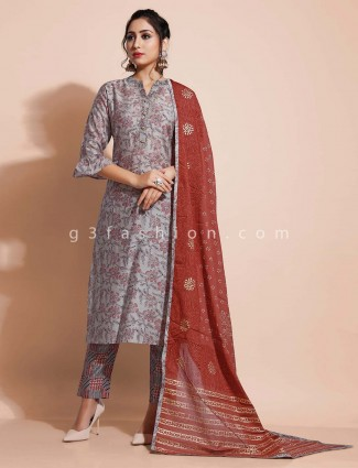 Light grey cotton printed pant style salwar suit