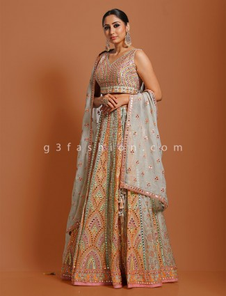 Light grey designer georgette lehenga choli