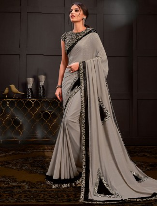 Light grey designer silk georgette saree