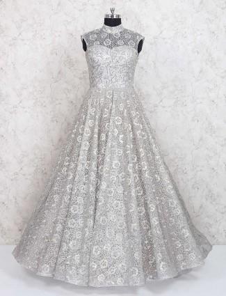 Light grey designer wear net gown