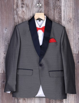 Light grey hue plain wedding wear coat suit
