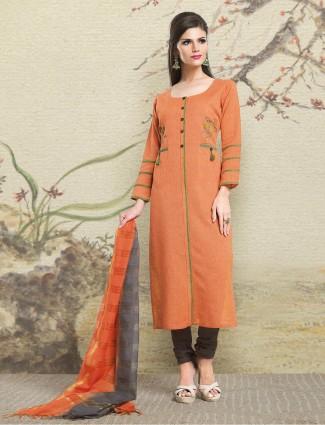Light orange color jute fabric salwar suit