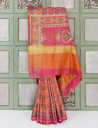 Light orange cotton silk festive wear saree