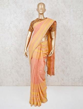 Light orange handloom cotton saree with readymade blouse