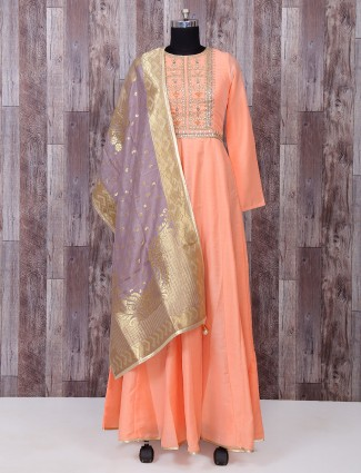 Light orange silk anarkali suit