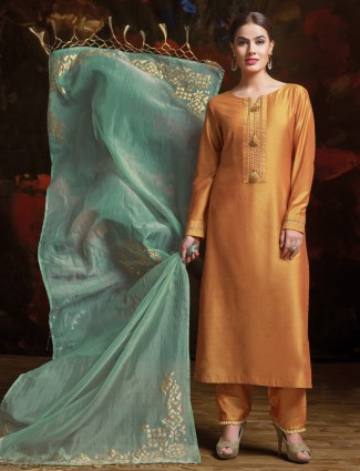 Light orange silk palazzo suit