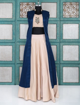 Light pink and blue color indo western for party wear