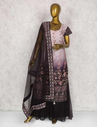 Light pink cotton silk festive wear sharara suit