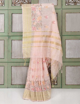 Light pink festive wear linen saree