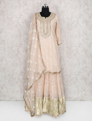 Light pink georgette lehenga cum salwar suit