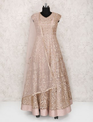 Light pink net floor length anarkali suit