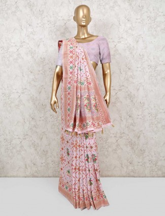 Light pink patola silk for reception wear