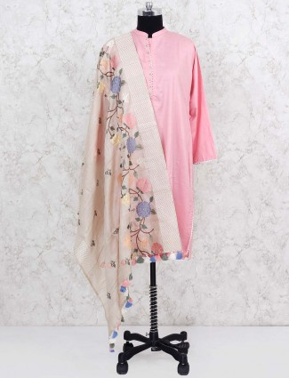 Light pink silk dupatta