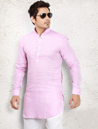 Light pink solid linen pathani suit