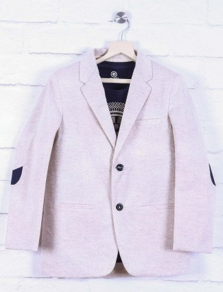 Light pink solid terry rayon fabric blazer