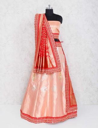 Light pink wedding wear semi stitched lehenga choli