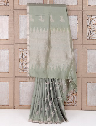 Light pista green color silk saree