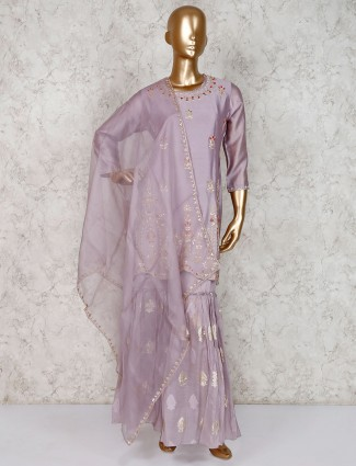 Light purple gharara suit in cotton silk