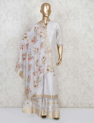 Light purple kurti and sharara set in raw silk for wedding