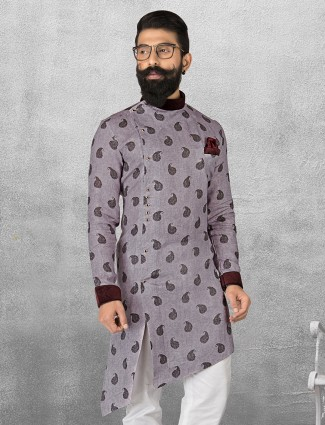 Light purple printed linen short pathani