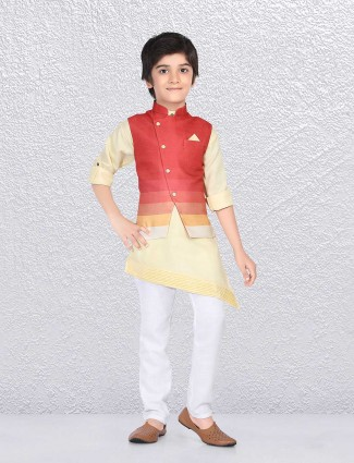 Light yellow and red shaded waistcoat set