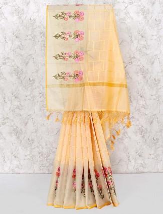 Light yellow beautiful saree